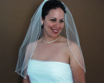 Elbow Length One Tier Wedding Veil With Serged Pencil Edge In Ivory or White - READY TO SHIP in 3-5 Days