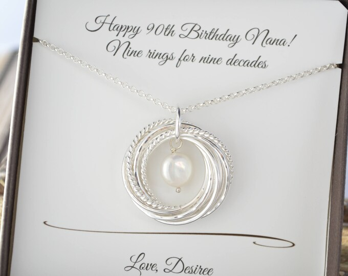 90th Birthday gift for mother and grandmother necklace, 9nd Anniversary gift for her, Pearl necklace, Mom necklace, June birthstone necklace
