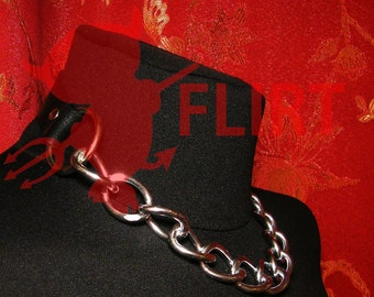 Handmade leather choker real leather collar with O'ring and chain in Stock