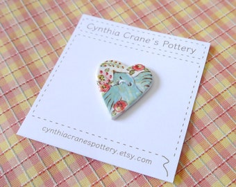 Ceramic Heart Button, White Porcelain Clay with Painted Blue Bird and Red Flowers