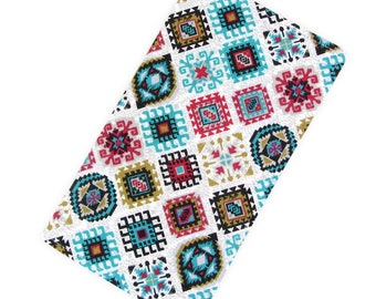Women's Fabric Check Book Cover Wallet - Bohemian Print