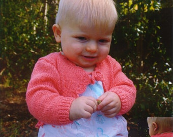 BABY knitting pattern bolero cardigan prem  to  18m 4ply   14 / 20 in chest