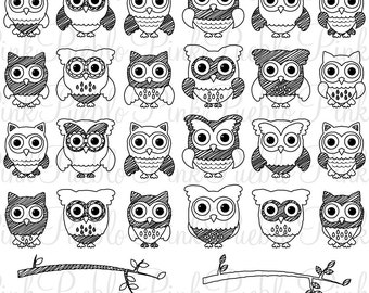 Cute Doodle Owl Clipart Clip Art, Black and White Doodle Owl Clipart Clip Art Vectors - Commercial and Personal