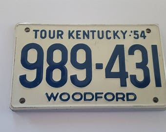 "Vintage 1954 Wheaties Cereal premium mini license plate, Kentucky,  Tour Kentucky Woodford, measures 3 7/8"" x 2 1/4"""