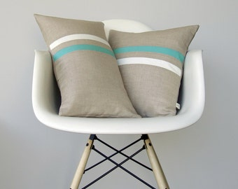 Modern Turquoise and Cream Striped Decorative Pillow Set - (12x20) and (16x16) by JillianReneDecor - Minimal Home Decor - Mint Stripe