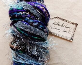 Twilight Zone blue purple violet glitter ribbon fringe twine trim Novelty Fiber Yarn Sampler Bundle
