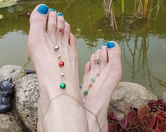 Ankle set, barefoot sandal, foot jewelry, slaved