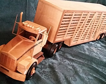 Wood Kenworth Truck - Tractor with cattle liner.  Birch, Maple