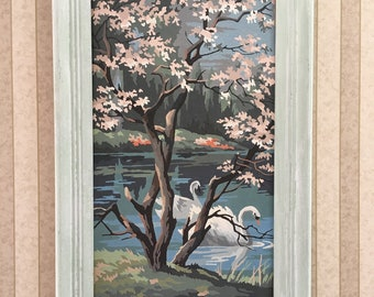 Vintage Swans Paint By Number PBN Cottage Shabby Decor, Swimming Swans