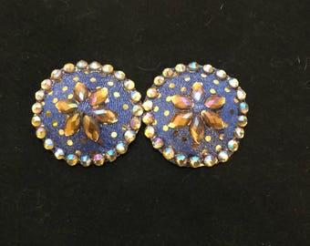 Rhinestoned blue/gold round pasties