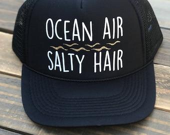 Ocean Air Salty Hair Trucker Hat, Beach Hat, Vacation baseball Hat, Summer Hat
