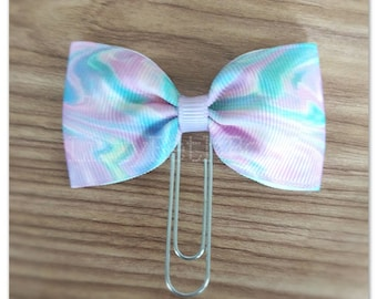 Pastel Swirls bow Planner clip, bookmark, planner bow clip, green, purple, pink, white, yellow, aqua