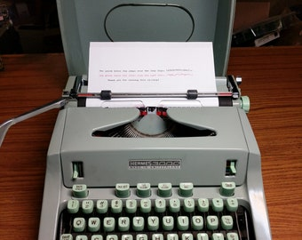 1968 Hermes 3000 portable typewriter with case lid