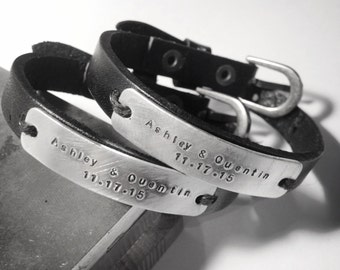 Couples bracelets - Matching bracelets- Wedding bracelets-Boyfriend - Girlfriend -  Honeymoon bracelet set. Anniversary bracelets-Set of 2