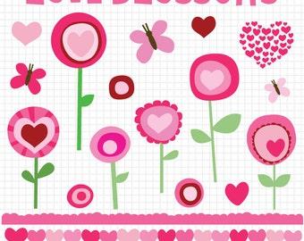 Pink Mod Floral Valentine Heart Clipart Instant Digital Download Graphics - Clip Art Images, Flower Clipart