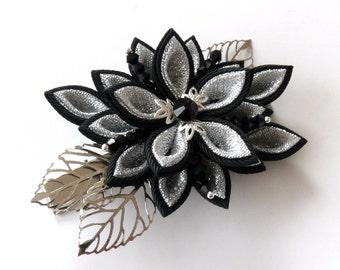 Kanzashi fabric flower hair clip,Black and silver kanzashi,Black and silver flower hair clip,Japanese hair piece,Oriental hair clip