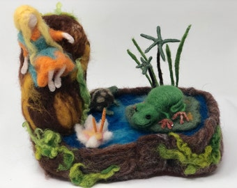 Needle felted frogpond Waldorf rainforest soft sculpture posable fairy turtle green tree frog