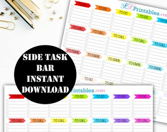 Task Side Bar Printable Planner Stickers // Erin Condren Printable / Planner Instant Download / Planner Insert Digital Download 00061