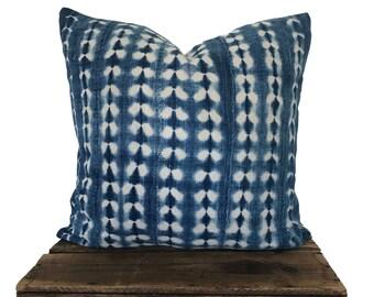 Vintage Indigo Pillow Cover, Authentic African Indigo