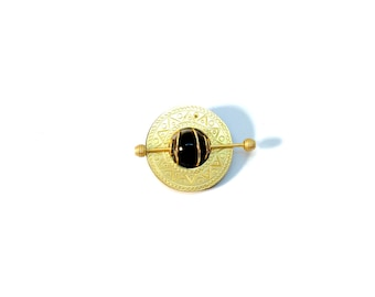 Vintage Gold and Black Round Brooch/Pin