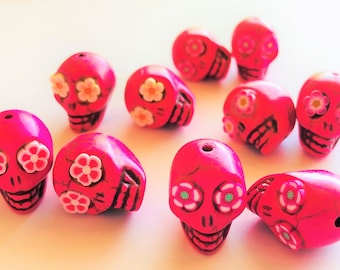 Pink Sugar Skull Beads Day of the Dead-Collection of 10 Beads or 5 Pairs Size 18mm beads