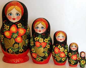Nesting Doll Russian Khohloma nested doll matreshka babushka wood doll hand painted stacking doll  stacking doll Khohloma