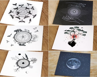 postcard set // card set // card pack // set of 3 // set of 5 // nature inspired art // nature lover gift // mini print