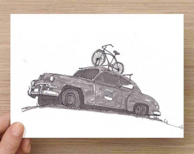 Old Rusty Classic Car with Bike - Tupps Brewery, McKinney, Texas, Ink Drawing, Sketch, Black and White, Art, Pen and Ink, 5x7, 8x10