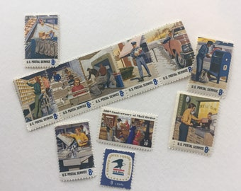 Postal Service collection - 10 8c US postage stamps unused - Vintage 1972 - Mail order USPS blue carriers employees art