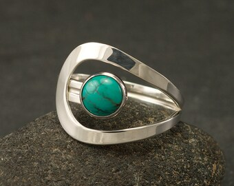 Turquoise Ring- Turquoise Gemstone Ring- Silver Turquoise Ring- Sterling Silver Ring- December Birthstone- silver jewelry- sizes 5-12