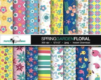 spring garden / floral pattern digital paper, pastel colour, 16 pages Scrapbooking craft paper, Party Printable, Instant download (DP0094)