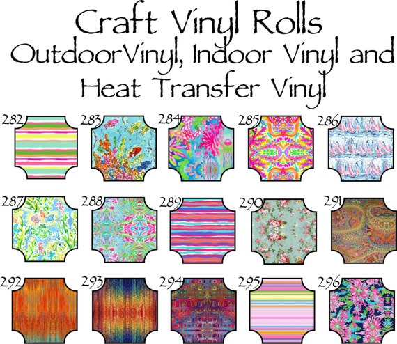 Beautiful, Vibrant Patterned Craft Vinyl and Heat Transfer Patterns 282-296