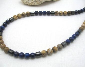 Blue lapis lazuli necklace, mens blue lapis, mens lapis necklace, mens blue lapis choker, mens blue lapis jewelry, mens blue stone necklace