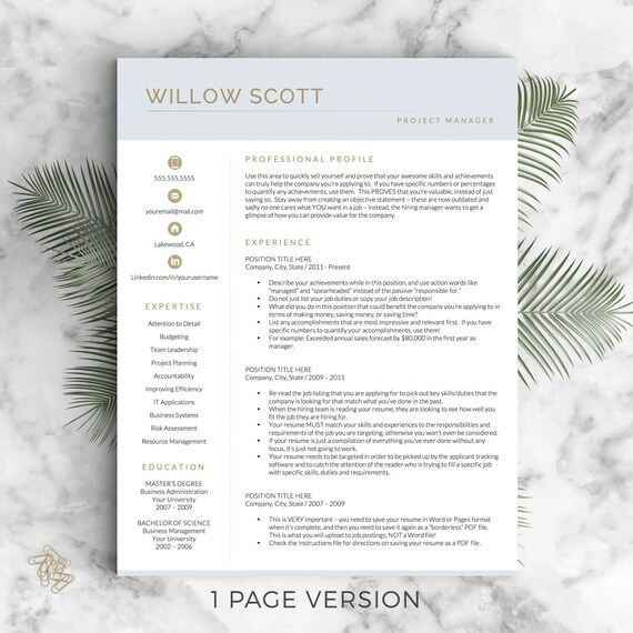 Modern Resume Template For Word 1 3 Page Resume Cover: Modern Resume Template For Word And Pages Modern CV Design
