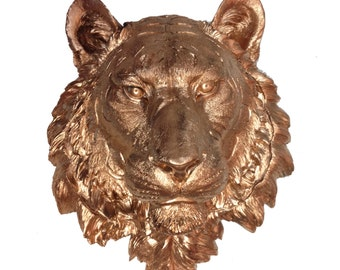 Bronze Bengal Tiger Head Mount Wall Statue. Faux Taxidermy Fake Bengal Tiger Head.