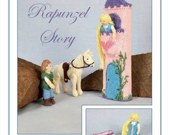 The Rapunzel Story Hand Knitting Pattern, Knits & Pieces Knitting Pattern , Toy knitting pattern, Doll  toy pattern KP 24