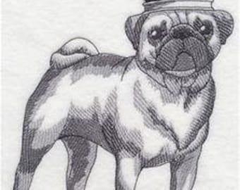Crowned Pug Embroidered Towel   Tea Towel   Kitchen Towel   Embroidered Tea Towel   Dish Towel   Flour Sack Towel   Embroidered Hand Towel