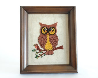 Vintage Framed Owl Embroidery Wall Hanging