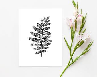 Fern INSTANT DOWNLOAD PRINTABLE Art, Leaf Print, Digital Print, Nature Print, Modern Print, Botanical Print, Home Decor, 8.5x11 inch and A4
