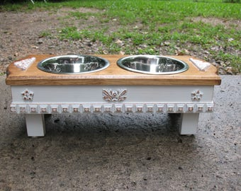 Raised Small Dog Pet Feeder, Two Tone, Walnut Stained Top, Antique White Shabby Chic Two stainless One Quart Bowls Made To Order