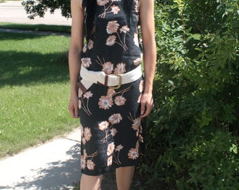 90s Black Floral Dress Sleeveless Vintage XS Rayon Casual Summer