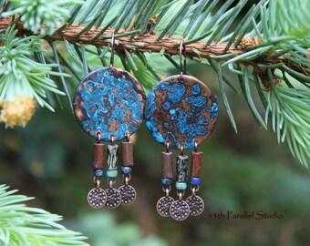 Blue Patina Earrings, Verdigris Earrings, Patina Earrings, Copper Earrings, Boho Earrings, Boho Jewelry, Copper Jewelry, Hippie Earrings