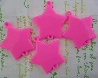 Large Star connector pendant 4pcs Bubblegum pink  43mm x 39mm