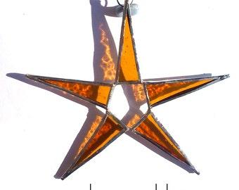 Deep Gold Stained Glass Star Suncatcher