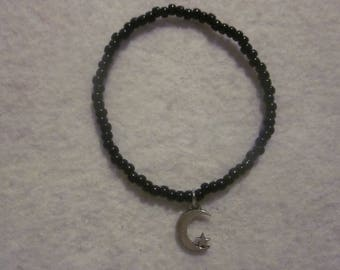 Black Moon Star Seed Bead Bracelet