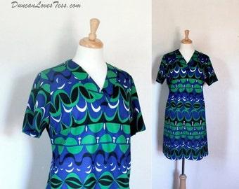 Vintage Dress / 60s Dress / Vintage 60s Dress / Polyester Knit Dress / Graphic Polyester Knit / Day Dress / Short Sleeve Dress / Size Small