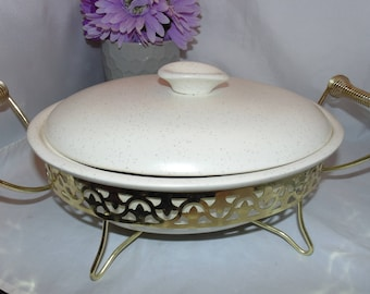 Vintage 1950's Retro Mid Centruy Modern MIRAMAR Of CALIFORNIA #773 Speckled Covered CASSEROLE Dish Bowl With Stand
