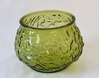 Vintage Crinkle Green Glass Pot Belly Planter From the 1970's