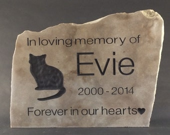 Personalized Natural Stone Pet Memorials. You choose your unique stone and we will add your custom text and silouettes. Polished Stone Face