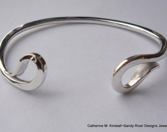Reverse Curve Hand Forged Sterling Silver Cuff Bracelet